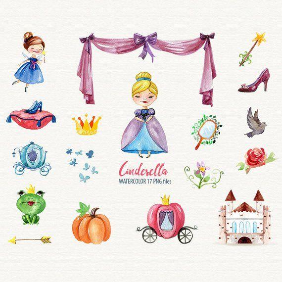 Watercolor cinderella . Fairytale clipart princess birthday