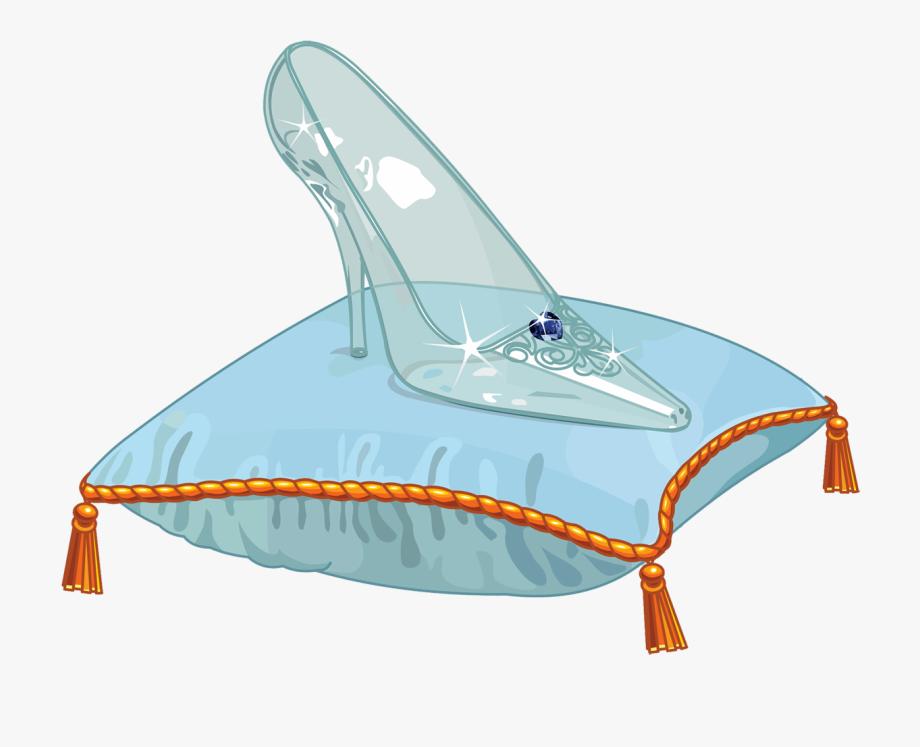 Glass slipper on pillow. Heels clipart cinderella shoe