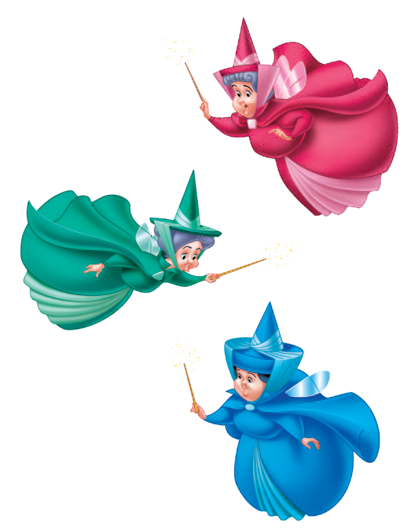 Flora fauna and merryweather. Magic clipart fairy godmother