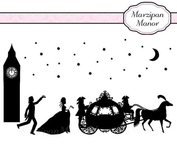 Cinderella clipart fairytale wedding. Silhouette romantic fairy tale