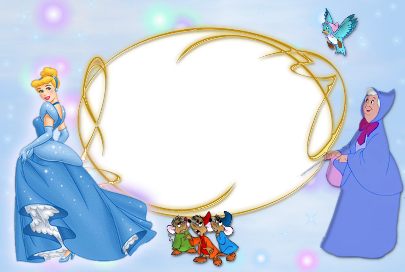 Cinderella clipart frame. Kartu ucapan themed party