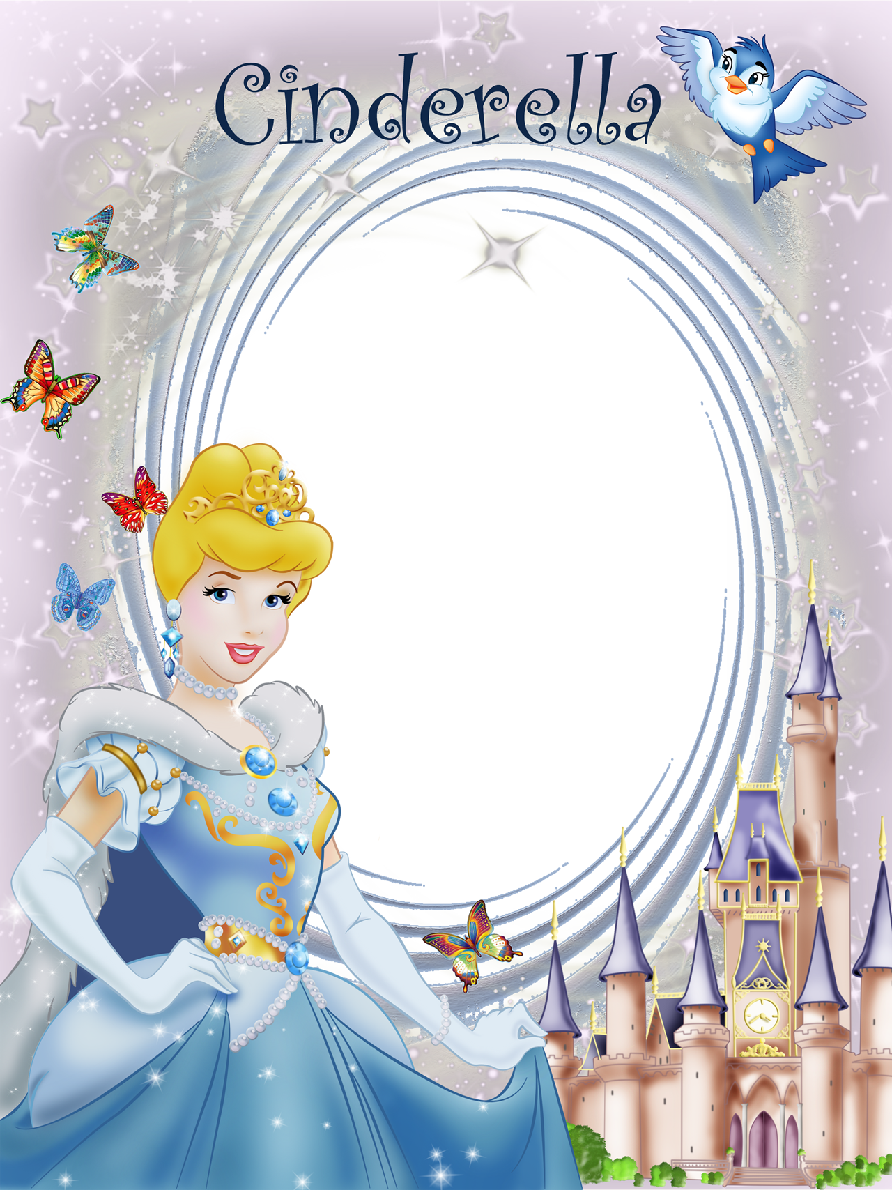 Cinderella clipart frame. Transparent princess gallery yopriceville