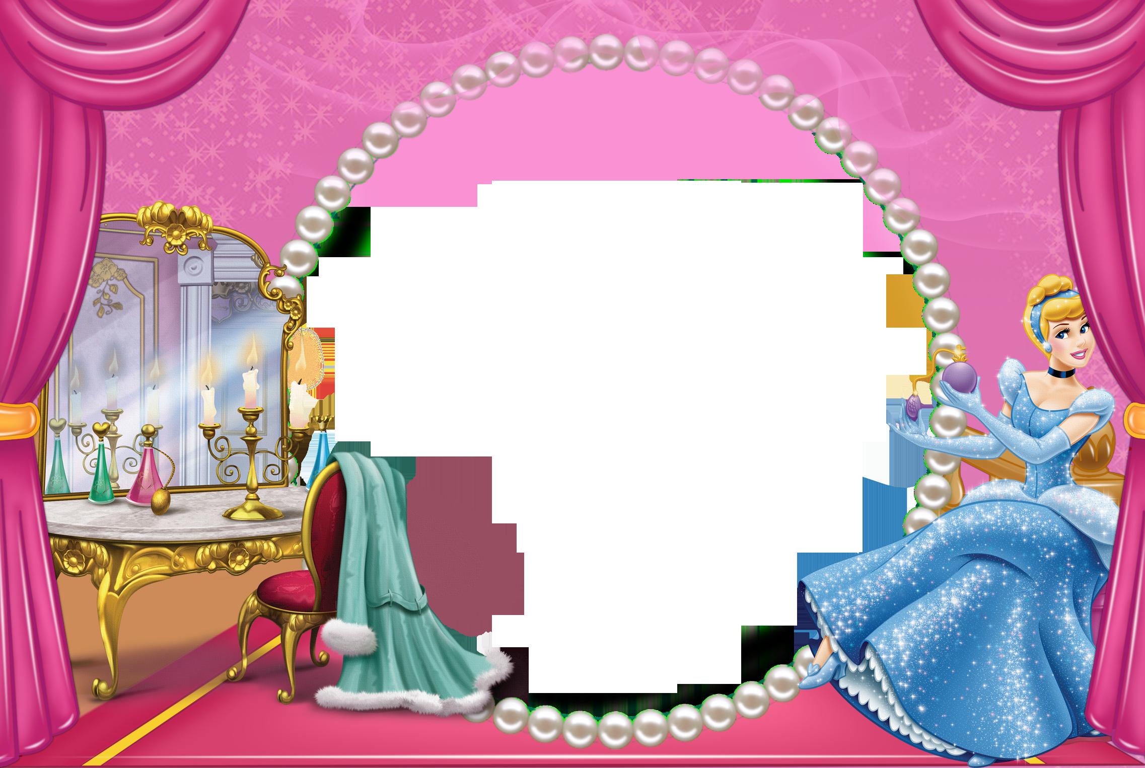 Cinderella clipart frame. Pink cute kids transparent