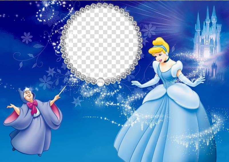 Cinderella clipart frame. Disney princess and fairy