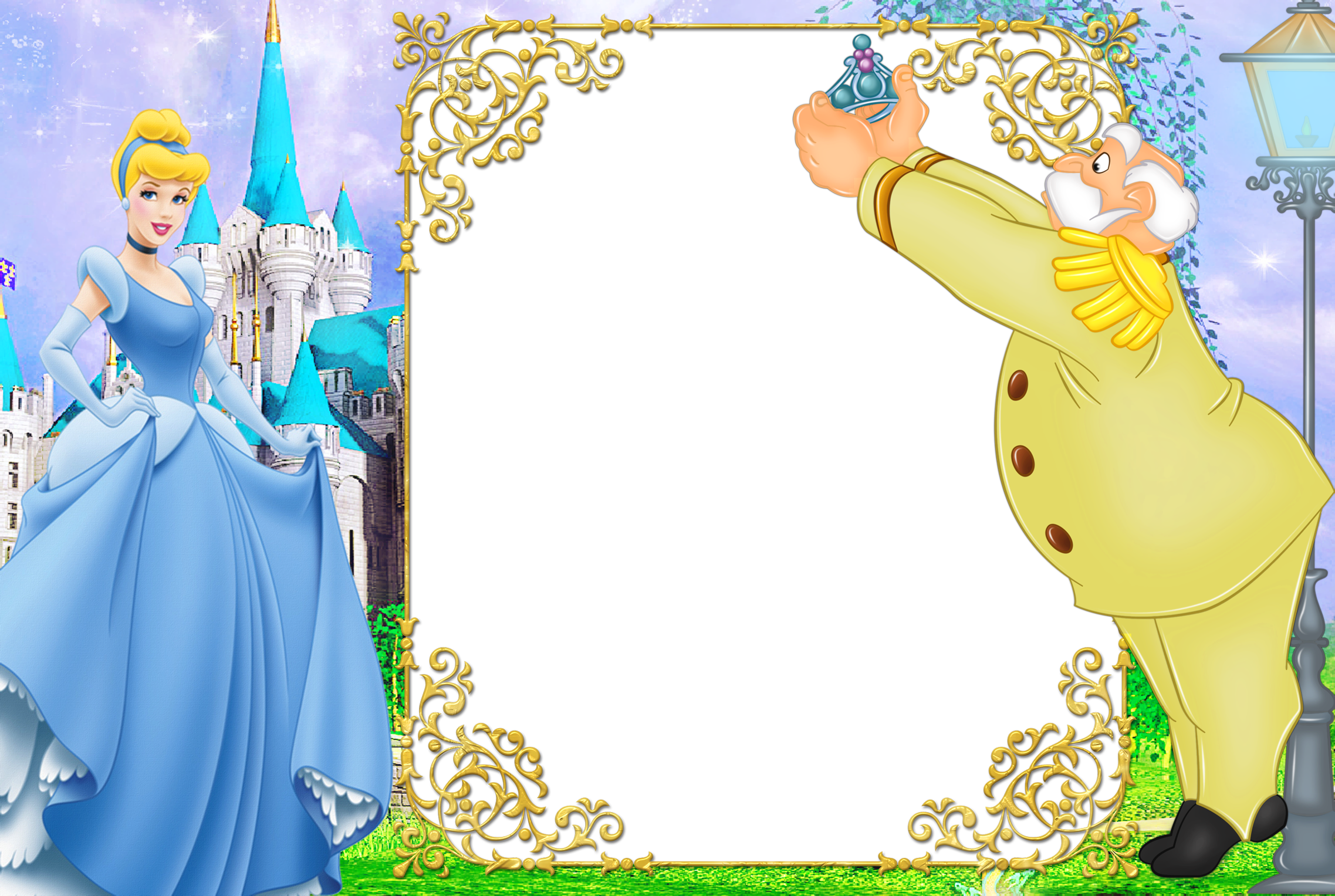 Kids blue transparent gallery. Cinderella clipart frame