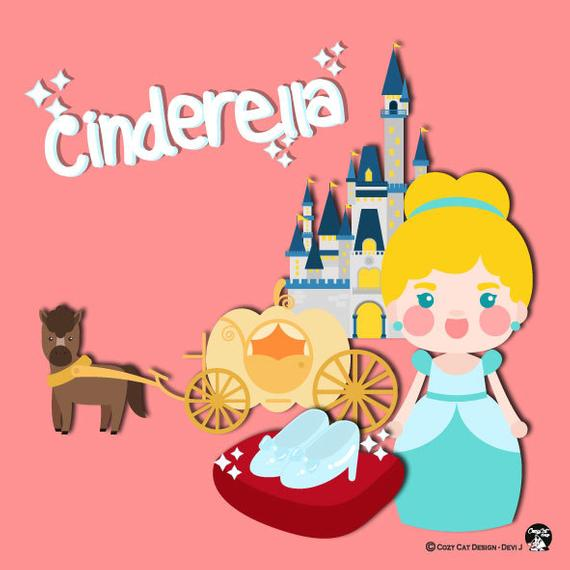Digital cute fairy tale. Cinderella clipart jpeg