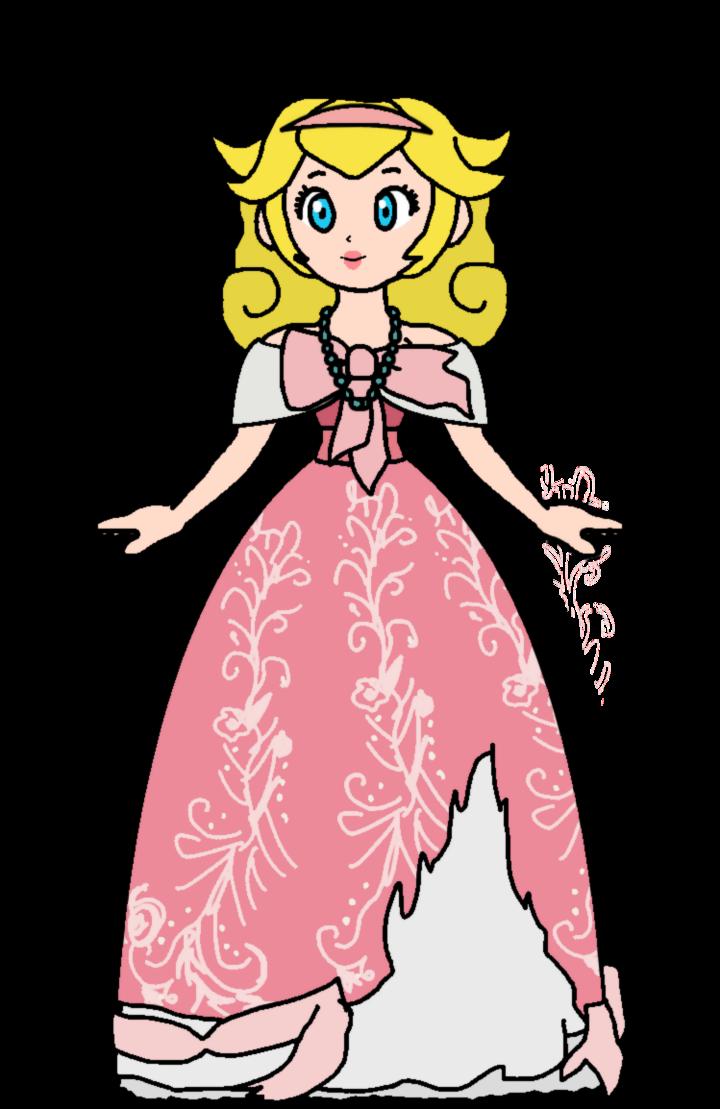 Peach cinderella designer doll. Fairytale clipart illustration