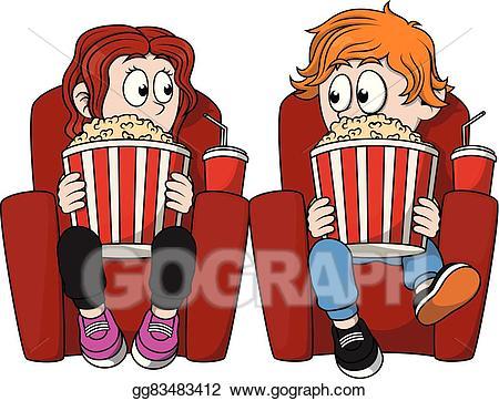 Cinema clipart. Vector art children watching