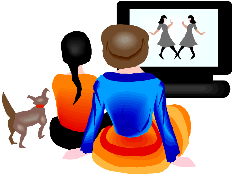 collection of watching. Television clipart coloring