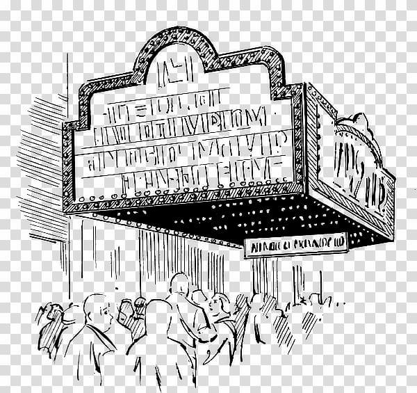 Cinema black and white. Movies clipart movie house