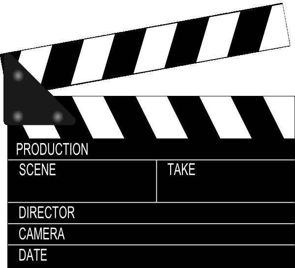 Movie clapper board clip. Theatre clipart drama scene