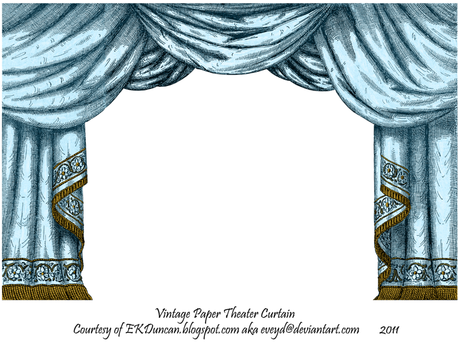 Curtains clipart empty stage. Aqua paper theater curtain