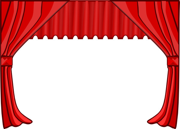 Curtain black and white. Movie clipart stage
