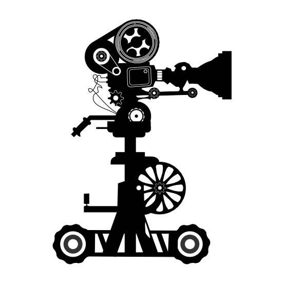 Film shooting from reel. Photography clipart cinema camera