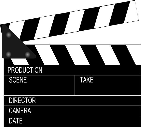 Movie clapper board clip. Film clipart clap