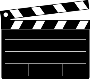 S cut board clip. Movie clipart movie director