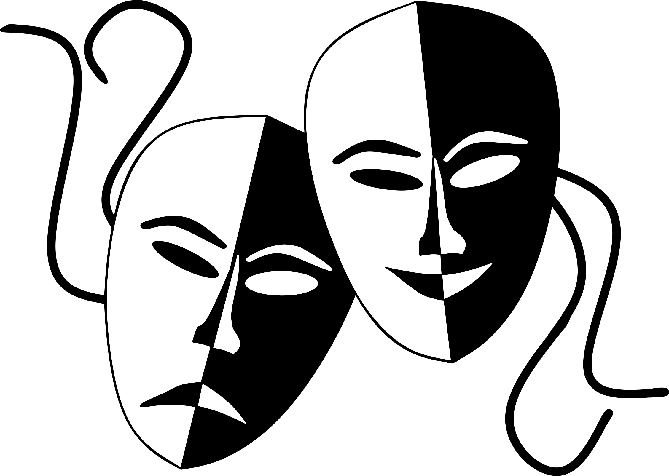 Tragedy and comedy theater. Mask clipart mime