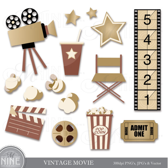 Vintage movie clip art. Cinema clipart file