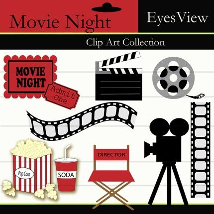 Film clipart movie party. Night clip art instant