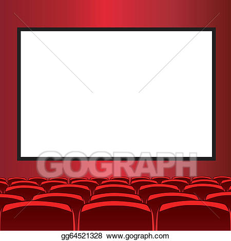 Vector art red drawing. Cinema clipart movie room