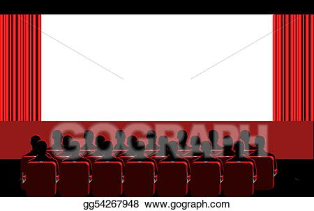 Cinema clipart movie room. Stock illustration red drawing