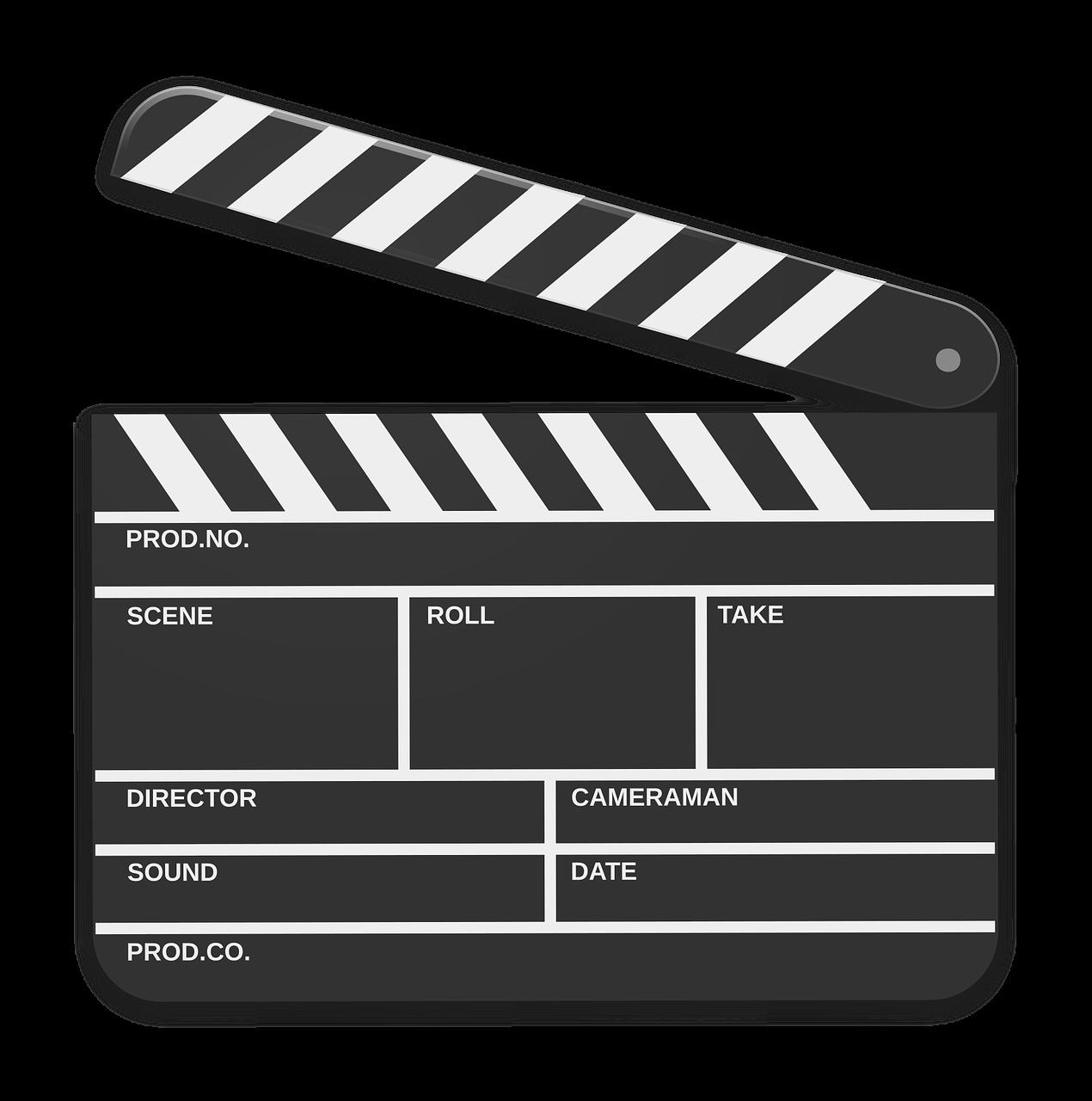 Art film clapperboard cinema. Movie clipart movie theater