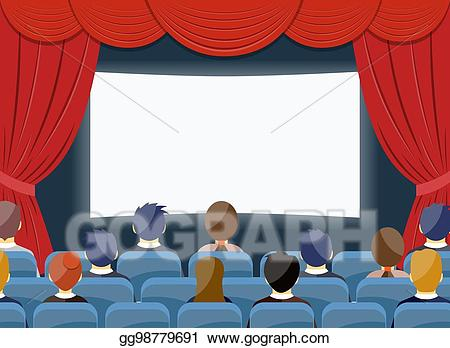 Movie clipart movie hall. Eps illustration cinema watch