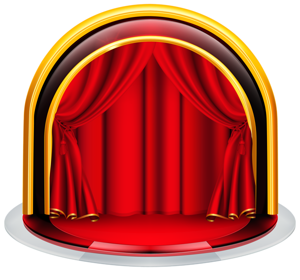 Stage with red curtains. Circus clipart platform