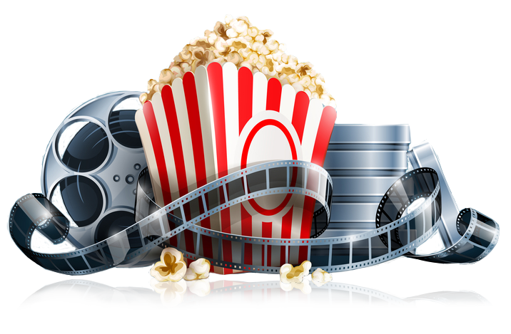 Movie reels and junk. Cinema clipart popcorn