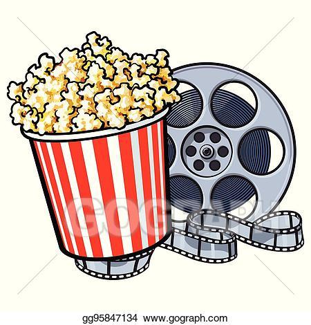 Cinema clipart popcorn. Eps illustration objects bucket