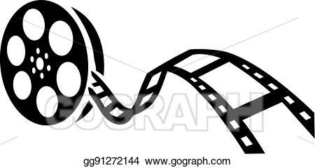 Vector film movie illustration. Cinema clipart reel