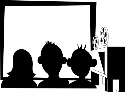 Movie theater dayasriod top. Movies clipart black and white