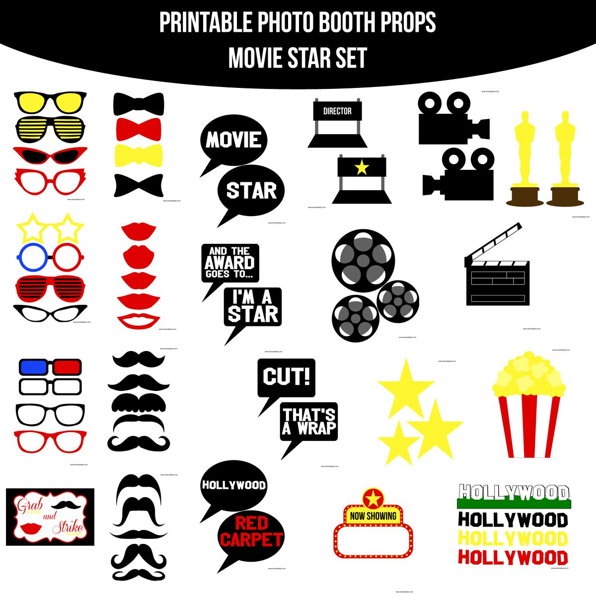 Instant download movie star. Hollywood clipart printable