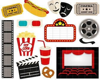 Movie night etsy . Cinema clipart themed