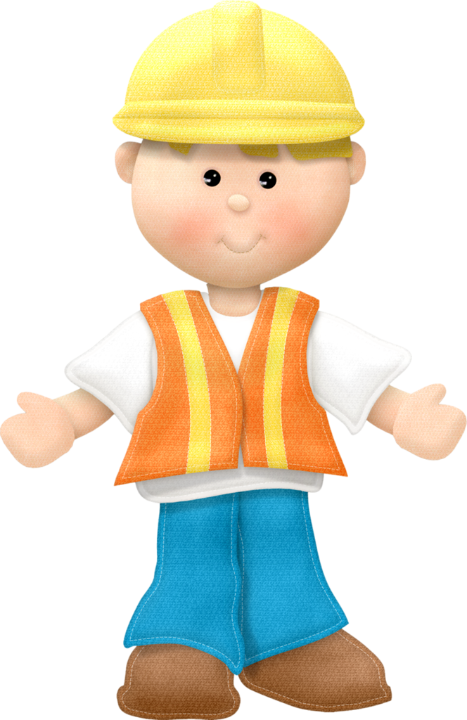 Construction worker community theme. Newspaper clipart edition