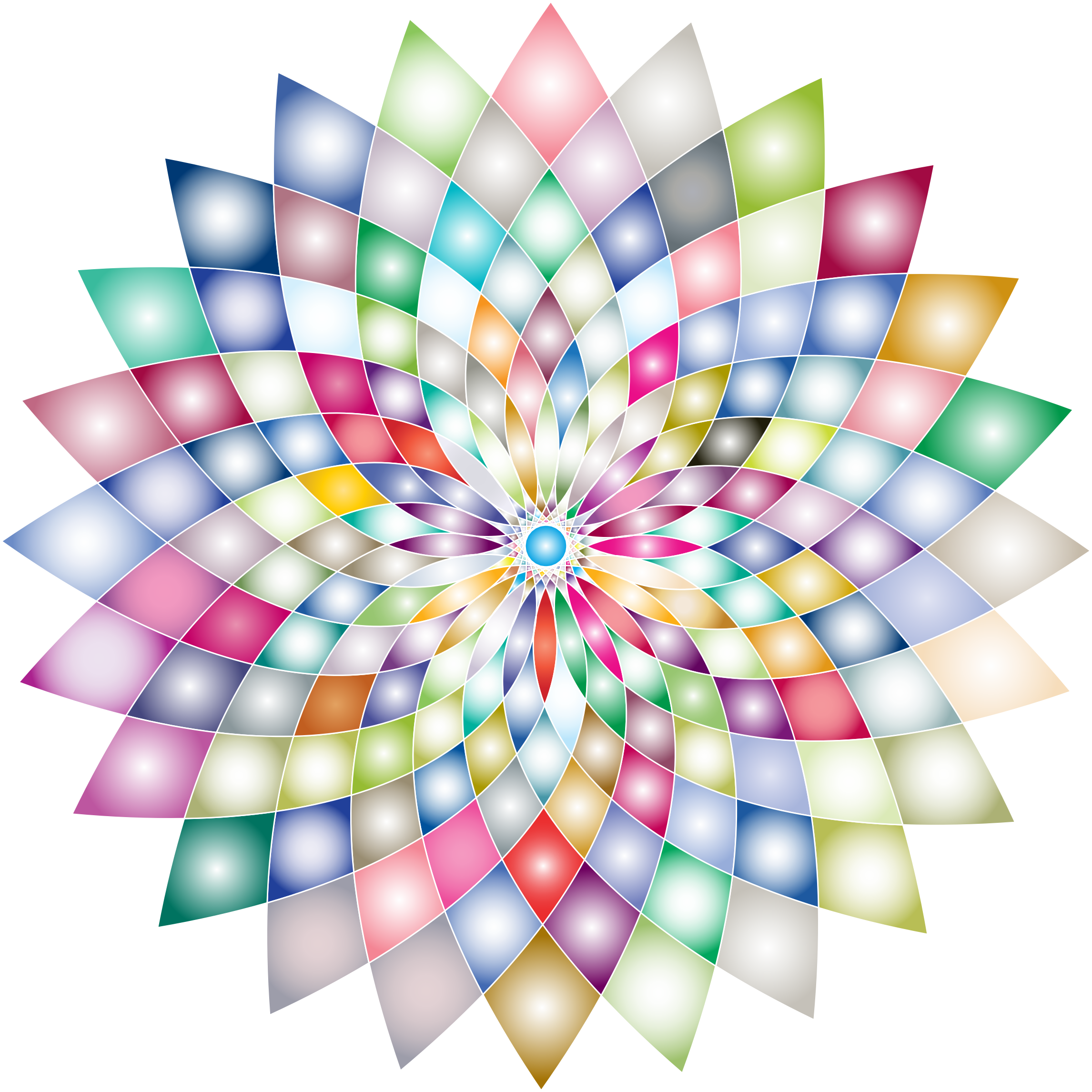 Prismatic flower line art. Number 2 clipart abstract