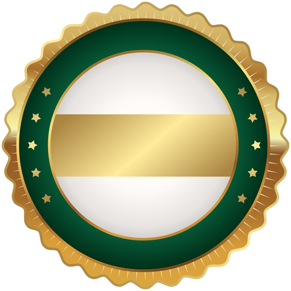 Circle clipart badge. Seal green gold png
