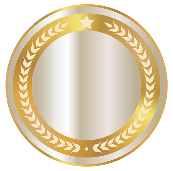 White badge with gold. Seal clipart printable