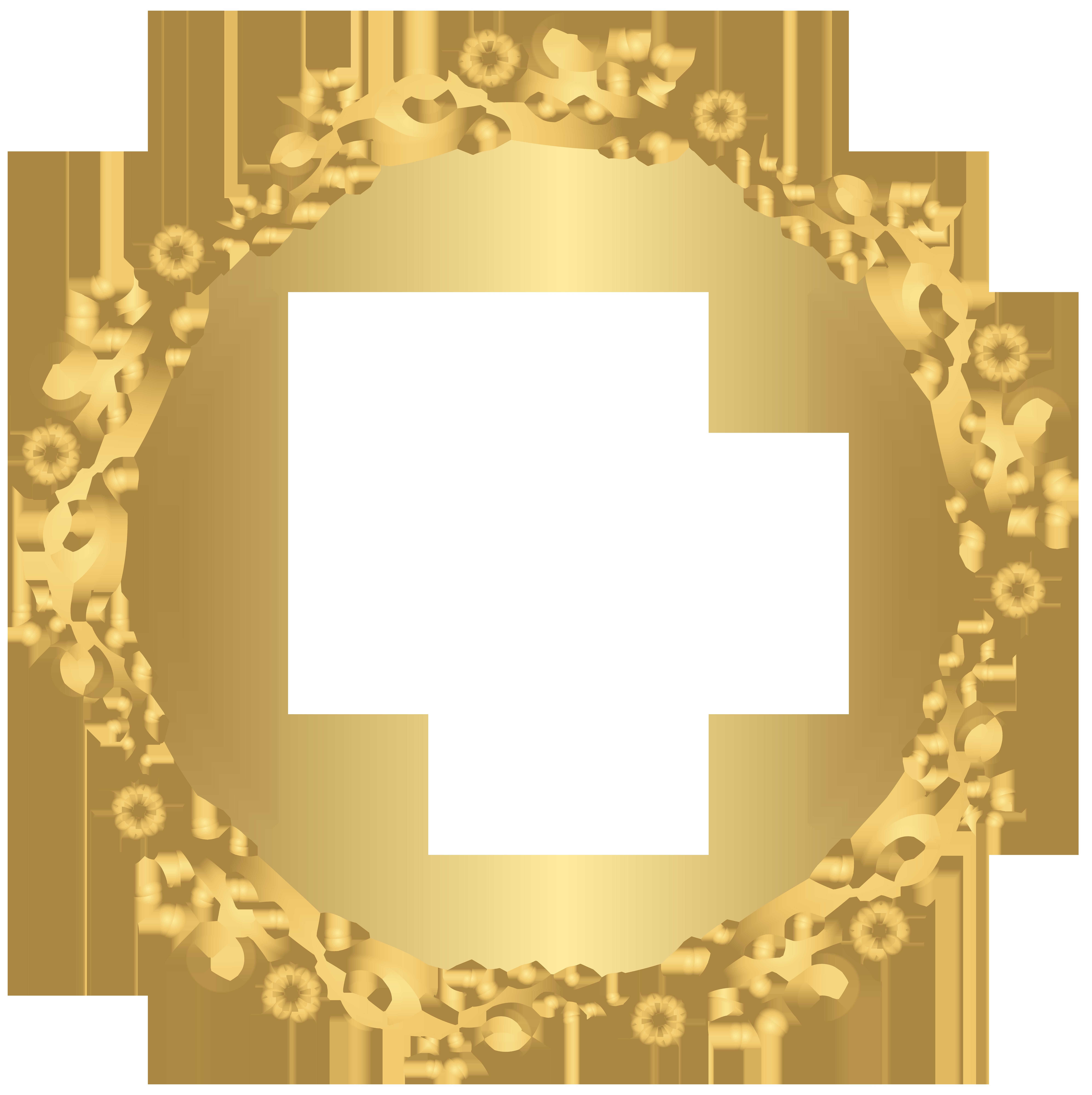 Gold round border transparent. Floral frame png