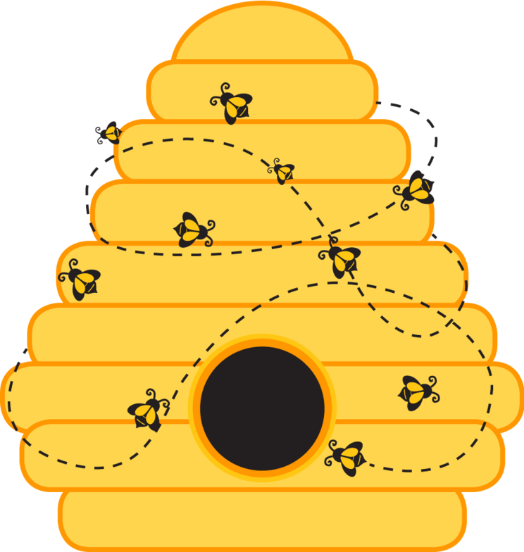Template of a bumble. Circle clipart bee