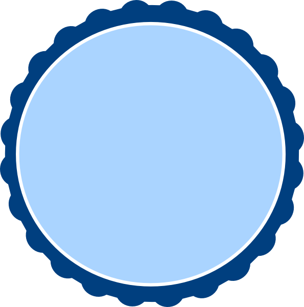 Banded blue scalloped circle. Navy clipart frame