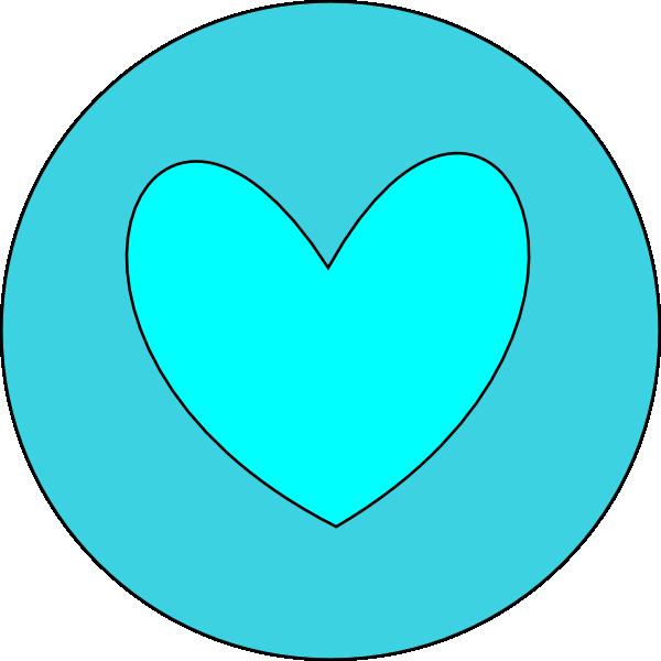 Heart in clip art. Circle clipart blue