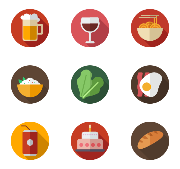 Icons free vector color. Circle clipart bread