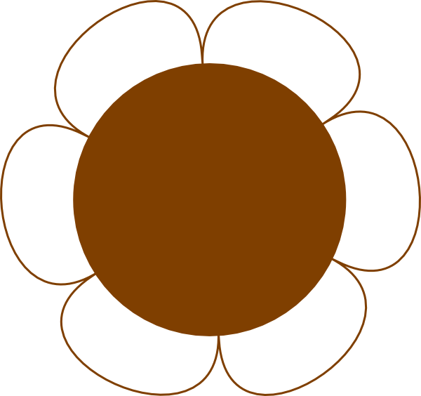 Flower big clip art. Circle clipart brown