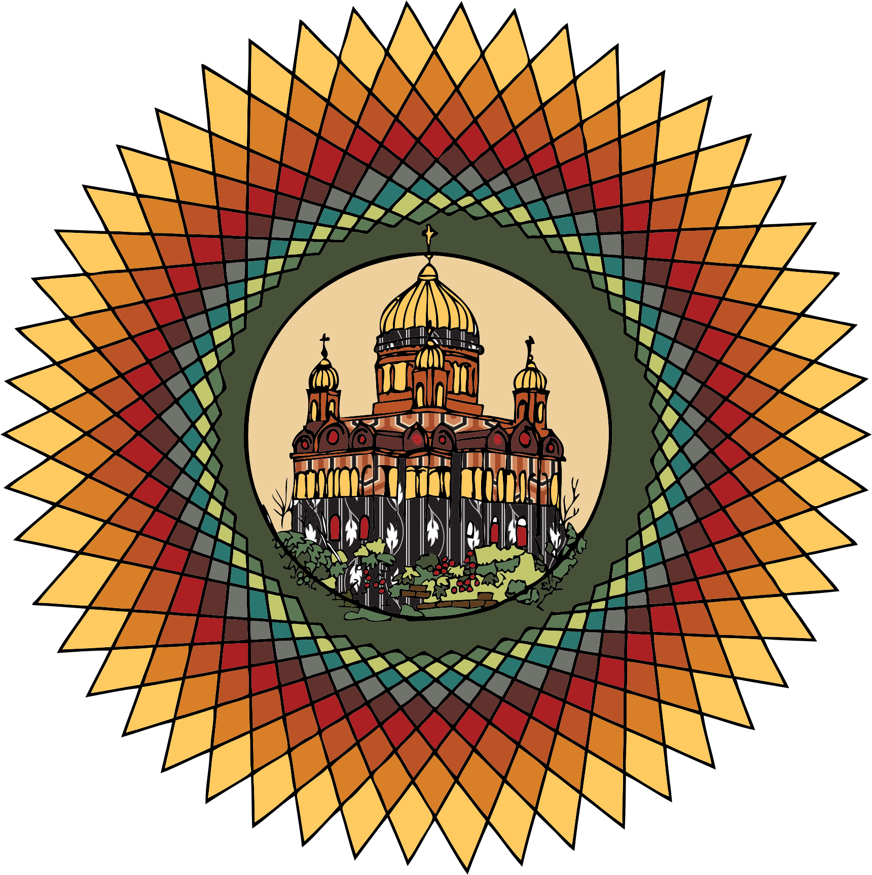 Mandala in color big. Circle clipart building