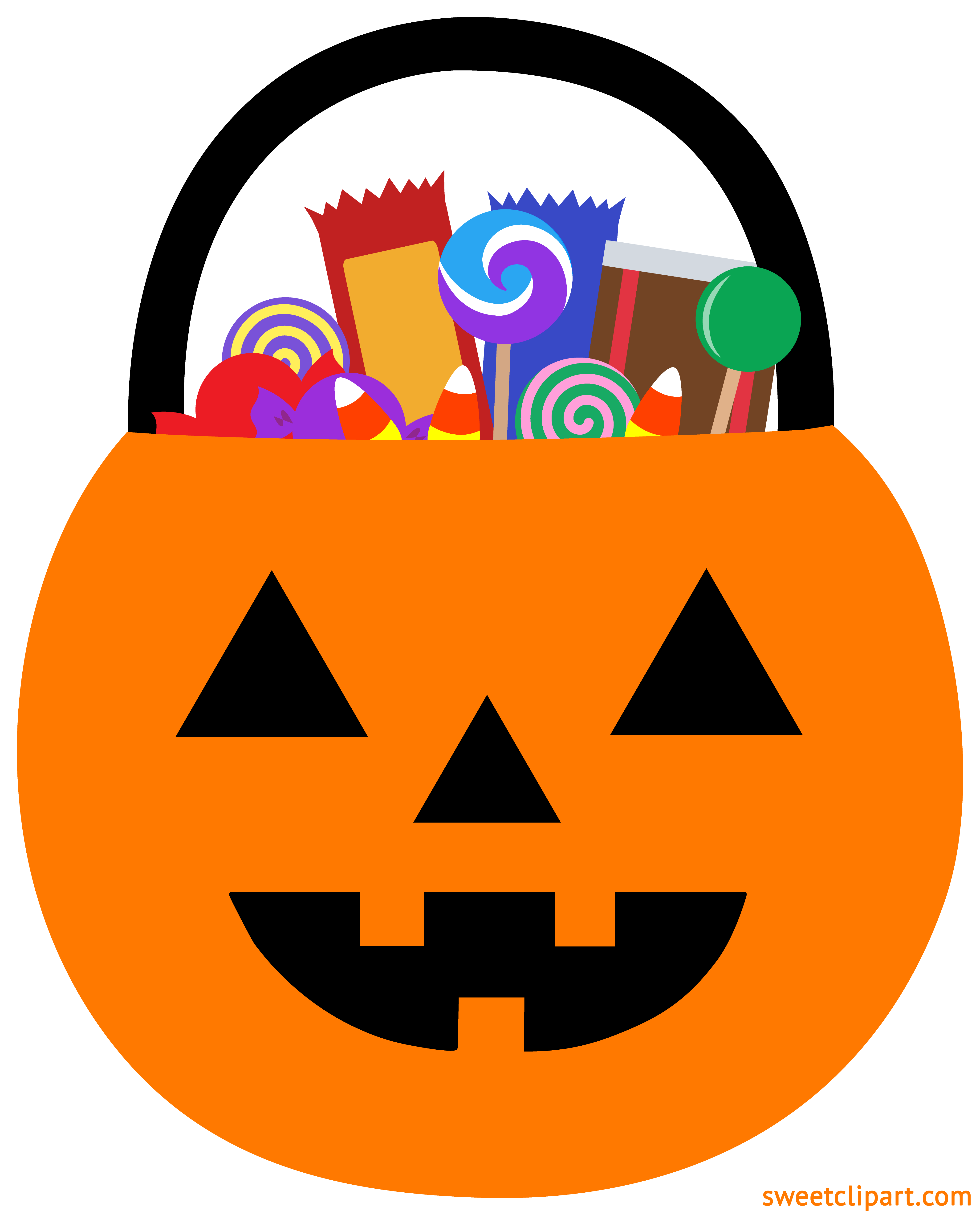 Clipart circle candy. Halloween pumpkin pail with