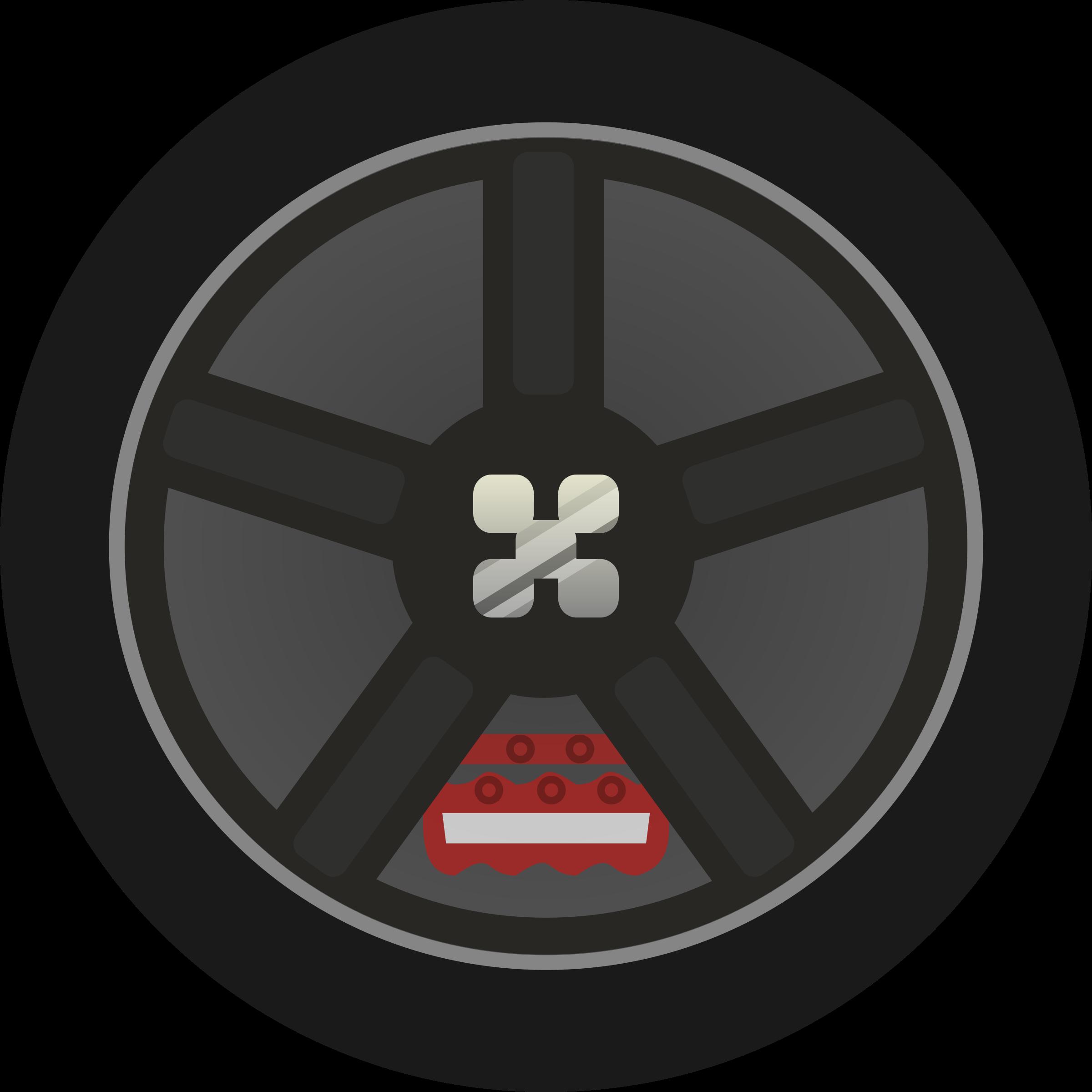 Dark simple car tire. Wheel clipart circle thing