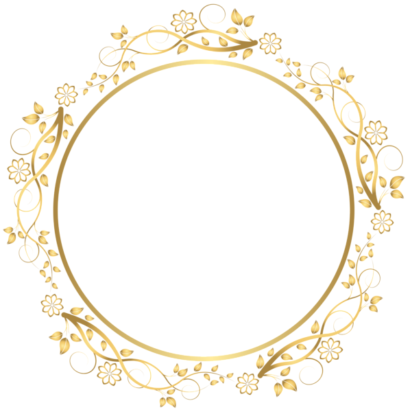 Gold round floral border. Circle clipart chalkboard