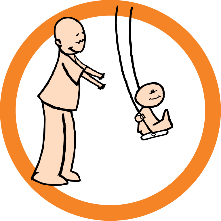 File being pushed on. Circle clipart child