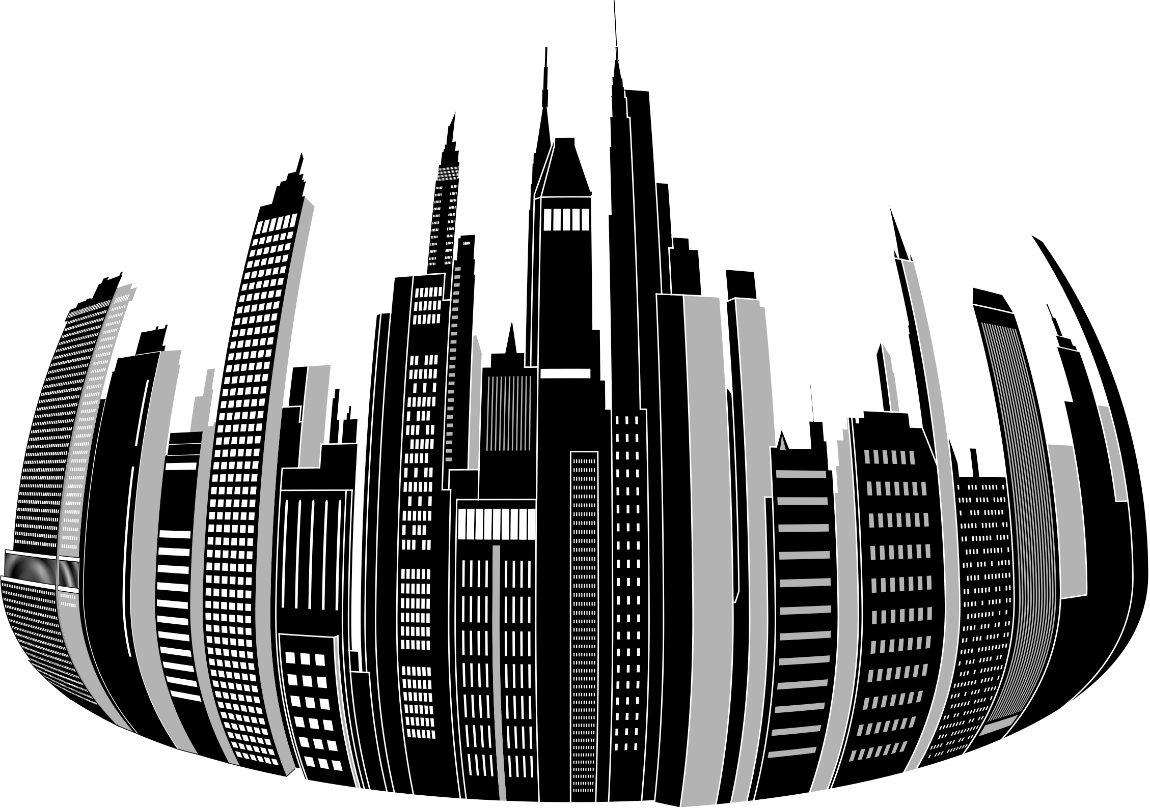 Circle clipart city. Distorted skyline big image